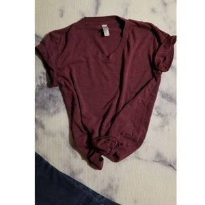 American Apparel cranberry Track Tee